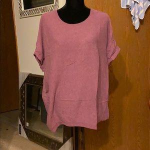 Cozy purple oversized sweater - short sleeves